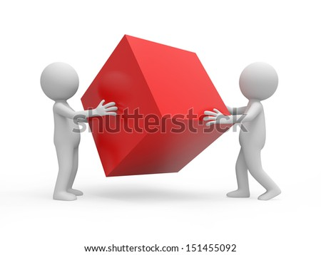 CubeTwo 3d people holding a red cube