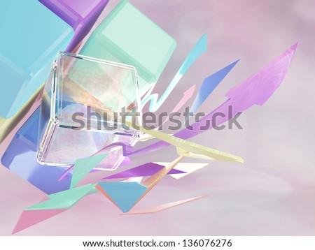 cubic and arrow pastel colour - stock photo