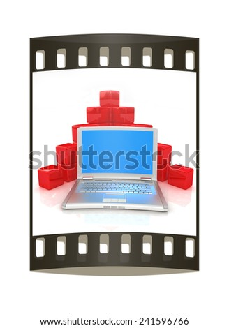 Cubic diagram structure and laptop. On a white background. The film strip - stock photo
