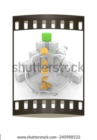 cubic diagram structure and piggy bank on a white background. The film strip - stock photo
