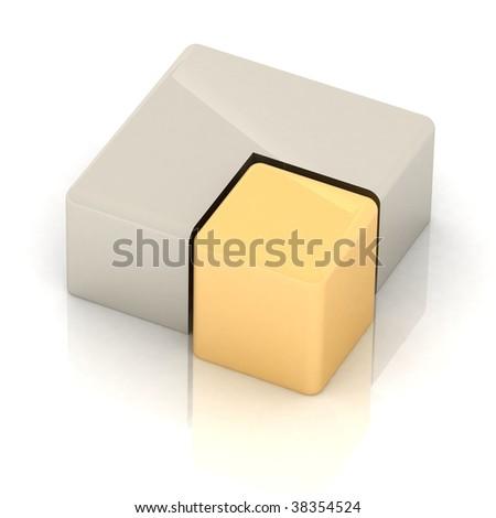 Cubic three-dimensional pie - stock photo