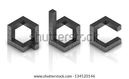 cubical 3d font letters a b c - stock photo