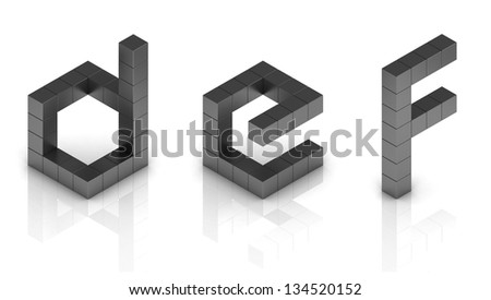 cubical 3d font letters d e f - stock photo