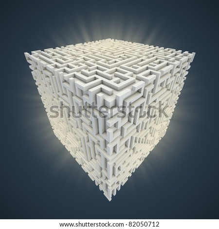 cubical maze - stock photo