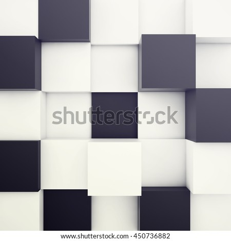 Cubical white and black background. 3d illustration - stock photo