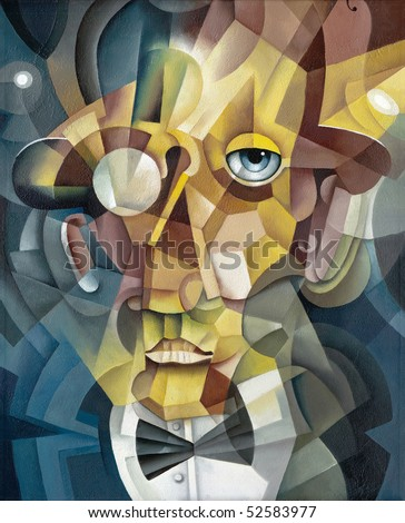 cubistic face - stock photo