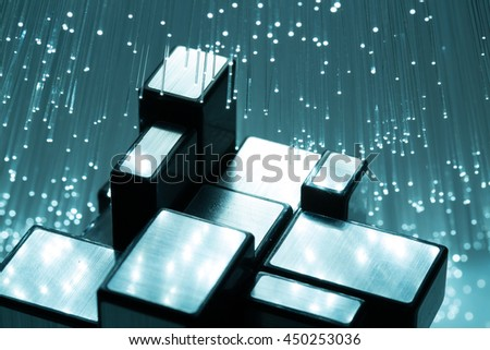 Cubs and Fiber optics background with lots of light spots - stock photo