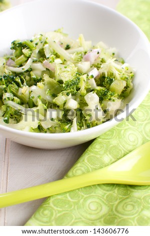 Cucumber and broccoli salad vertical