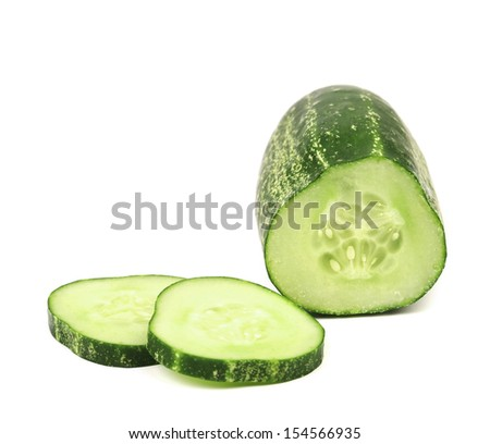 Cucumber and slices isolated over white background.