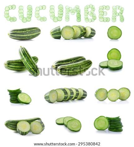 Cucumber isolate on white  background. - stock photo