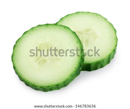 Cucumber slice isolated on white background - stock photo