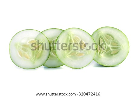 Cucumber slices isolated on white background.  - stock photo
