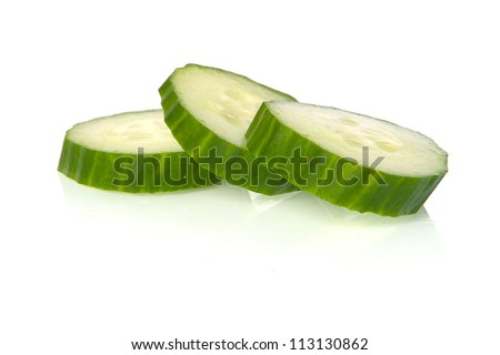 cucumber slices on a white background - stock photo