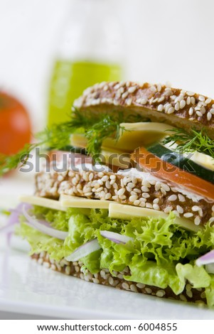 cucumber,tomato, rosemary and cheese sandwich still life with blurry background - stock photo
