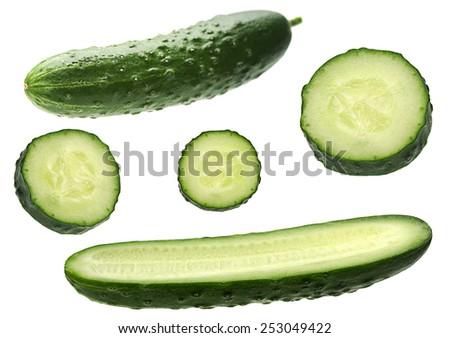 Cucumber vegetable set isolated on white background - stock photo