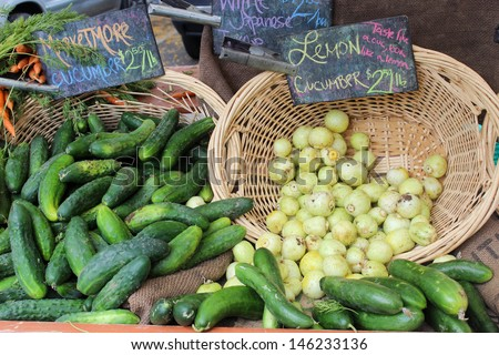 Cucumbers at the Santa Barbara Farmer's Market - stock photo