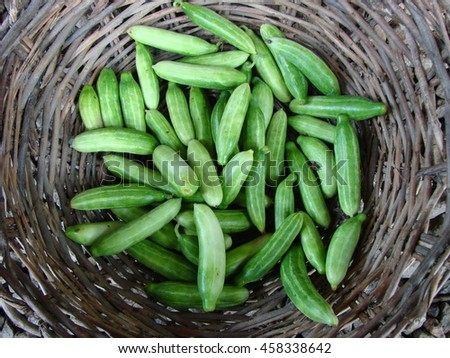 cucumbers in a basket