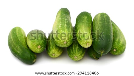cucumbers on the white background