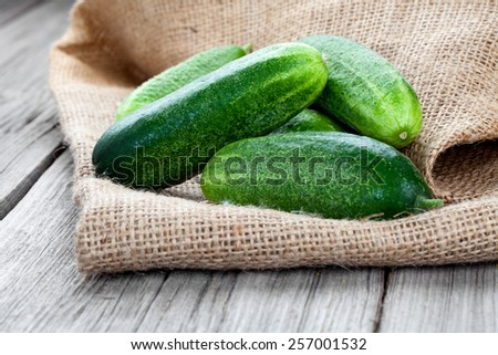 cucumbers on the wooden background - stock photo