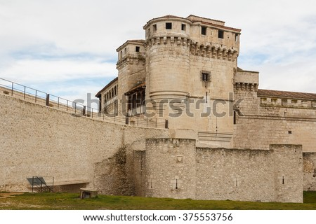 CUELLAR / SPAIN - MARCH 2013: Medieval castle in the center of Cuellar, Spain - stock photo