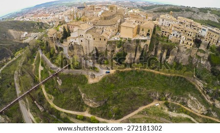 "CUENCA, Casas colgadas ""hanging houses"". Many casas colgadas are built right up to the cliff edge,making Cuenca one of the most striking towns in Spain - stock photo"