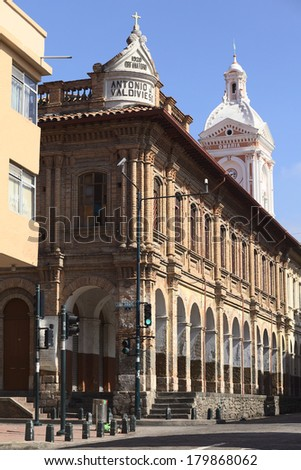 CUENCA, ECUADOR - FEBRUARY 13, 2014: The building of the San Francisco Parish on the corner of the streets Juan Jaramillo and Padre Aguirre on February 13, 2014 in the city center of Cuenca in Ecuador - stock photo