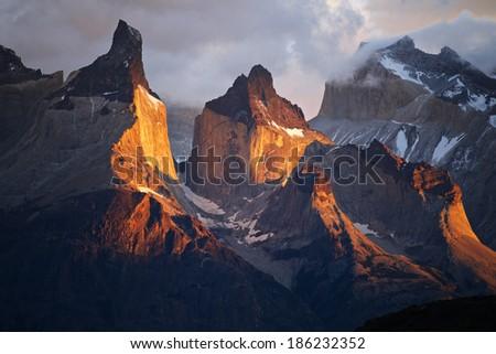 Cuernos sunrise - stock photo