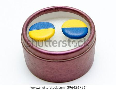 cufflinks in box  - stock photo