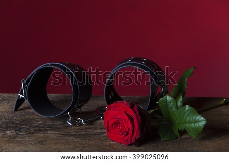 cuffs and rose  - stock photo