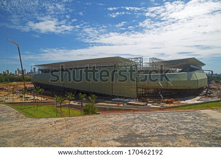 CUIABA, MT, BRAZIL - JANUARY 09: Arena Pantanal building stage for 2014 Brazil's world cup,  west side. January 09, 2014 in Cuiaba, MT, Brazil.