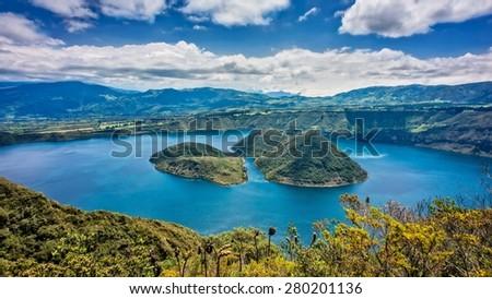 Cuicocha lake in Ecuador.  - stock photo