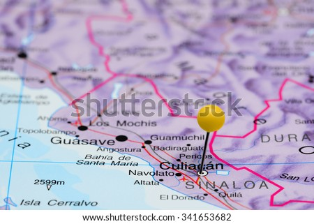 Culiacan pinned on a map of Mexico  - stock photo