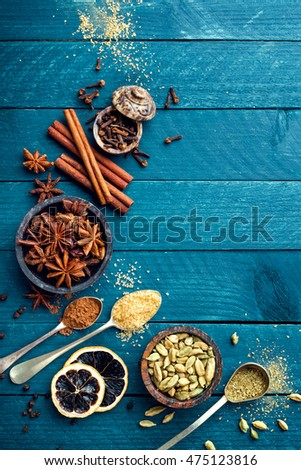 culinary background with various spices for Christmas mulled wine