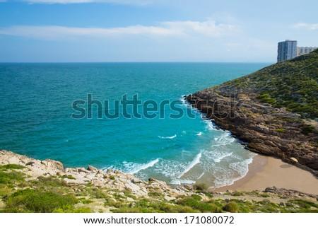 Cullera Cala beach near Faro in blue Mediterranean of spain - stock photo