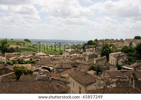 Cultivated Fields and Hillsides with Town of St. Emilion in Foreground