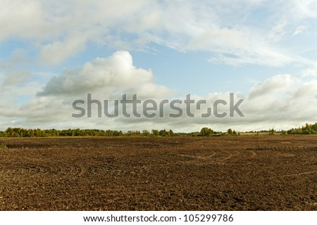 Cultivated land in a sunny day. - stock photo