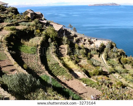 Cultivated terraces on Isla del Sol.  Lake Titicaca.  Bolivia. - stock photo