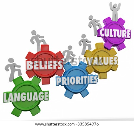 Culture word on gears and people climbing together with shared language, beliefs, priorities and values - stock photo