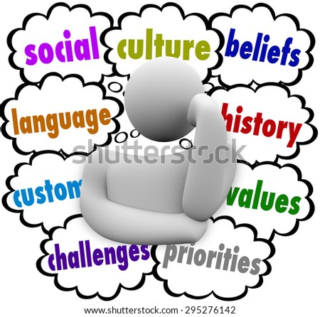 Culture words in thought clouds to illustrate shared language, culture, heritage, values, history and priorities - stock photo