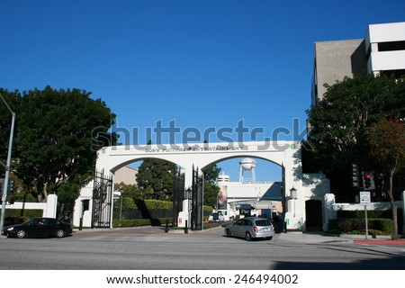 Culver City, USA - December 7, 2010: Entrance to Sony Pictures Studios lot known as the Overland Gate. Sony's studio complex located in CA 90232, north of Overland Avenue and Culver Boulevard