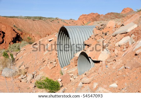 Culvert in Mohave Desert Wash - stock photo