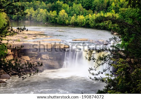 Cumberland falls in southern Kentucky in spring - stock photo