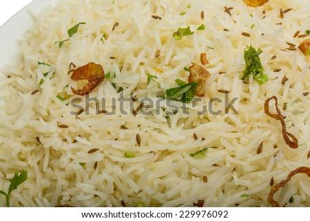 Cumin rice - indian famous rice - stock photo