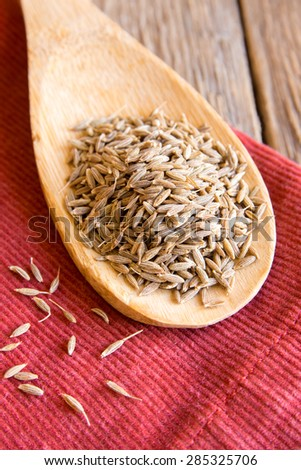 cumin seeds on wooden spoon over red napkin, close up - stock photo