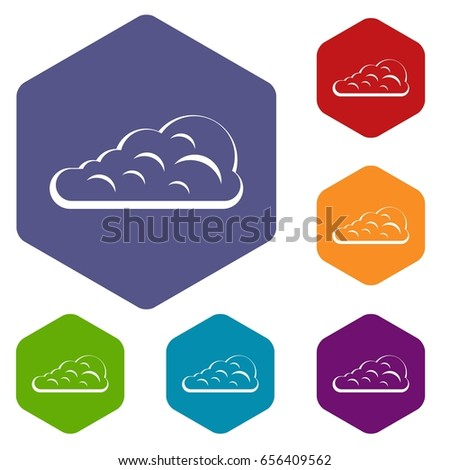 Cumulus Cloud Icons Set Hexagon Isolated Stock Illustration