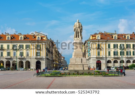 CUNEO, ITALY - JUNE 11, 2011: Everyday life on the Piazza Tancredi Galimberti (or Galimberti square). Cuneo is one of the most visited cities in Piedmont