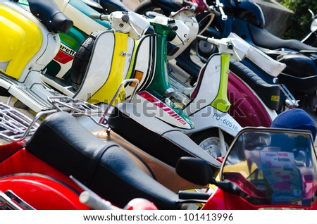 CUNTIS - FEBRUARY 26: Details of motorcycles Vespa and Lambreta type in the concentration of old bikes held on 26 February, 2012, in the village of Cuntis, in the province of Pontevedra, Spain.