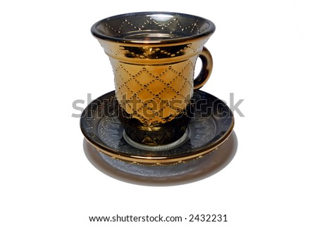 cup and saucer on white background with sidebar of the separation (Clipping Paths)