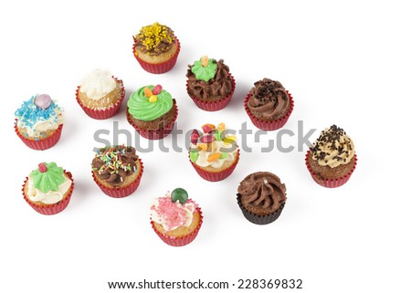 cup cake on white background - stock photo