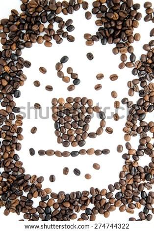 Cup from coffee grains. Espreso. Americano. Cappuccino. Latte. - stock photo